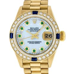 Rolex Ladies 18K Yellow Gold MOP Emerald & Sapphire President Wristwatch With Ro