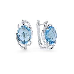 14k White Gold 5.02CTW Diamond and Blue Topaz Earrings, (SI1/G)
