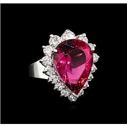 11.41 ctw Pink Tourmaline and Diamond Ring - 14KT White Gold