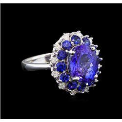 14KT White Gold 3.54 ctw Tanzanite, Sapphire and Diamond Ring