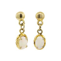 0.60 ctw Opal Earrings - 14KT Yellow Gold
