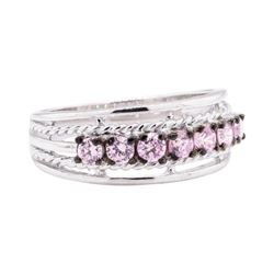 0.50 ctw Pink Topaz Ring - 10KT White Gold