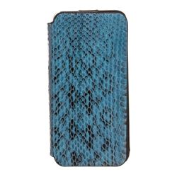 MCM Blue Snakeskin Leather Flap iPhone 5 Case