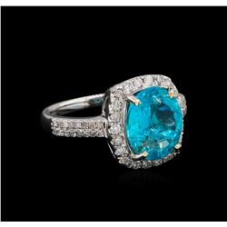 3.57 ctw Apatite and Diamond Ring - 14KT White Gold