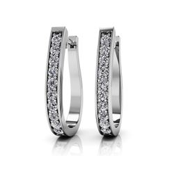 14K White Gold 1.50CTW Diamond Earrings, (SI2/F-G)