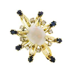 3.00 ctw Opal, Sapphire and Diamond Pin/Pendant - 14KT Yellow Gold