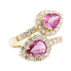 3.42 ctw Pink Sapphire and Diamond Ring - 14KT Yellow Gold