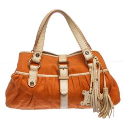 Celine Orange Canvas Leather Shoulder Bag