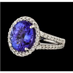 5.10 ctw Tanzanite and Diamond Ring - 14KT White Gold