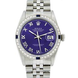 Rolex Mens Stainless Steel Purple Roman Diamond & Sapphire Datejust Wristwatch