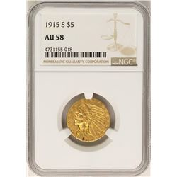 1915-S $5 Indian Head Half Eagle Gold Coin NGC AU58