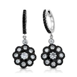 14k White Gold  2.21CTW Diamond and Black Diamonds Earrings