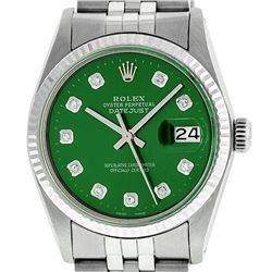 Rolex Mens Stainless Steel Green Diamond 36MM Datejust Wristwatch