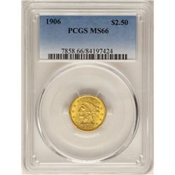 1906 $2 1/2 Liberty Head Quarter Eagle Gold Coin PCGS MS66