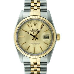 Rolex Mens 2 Tone 14K Champagne Tapestry Index 36MM Datejust Wristwatch With Rol