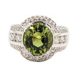 6.82 ctw Tourmaline and Diamond Ring - 14KT White Gold