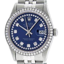 Rolex Mens Stainless Steel Blue String Diamond 36MM Datejust Wristwatch