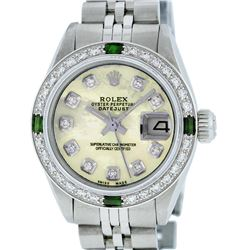 Rolex Ladies Stainless Steel Yellow MOP Diamond & Emerald Datejust Wristwatch
