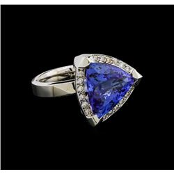 9.02 ctw Tanzanite and Diamond Ring - 14KT White Gold