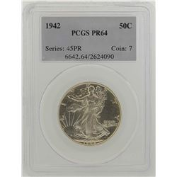 1942 Walking Liberty Half Dollar Proof Coin PCGS PR64