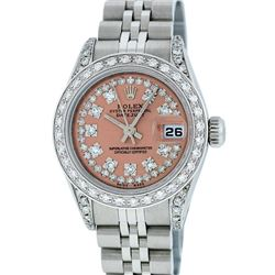 Rolex Ladies Stainless Steel 26MM Salmon String Diamond Lugs Datejust Wristwatch