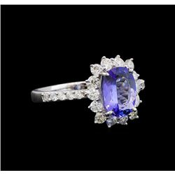 14KT White Gold 1.43 ctw Tanzanite and Diamond Ring