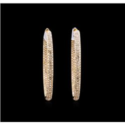 7.45 ctw Diamond Hoop Earrings - 18KT Rose Gold