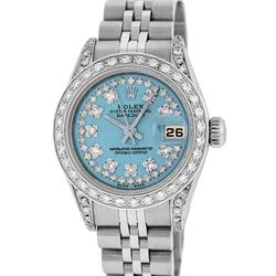 Rolex Ladies Stainless Steel 26MM Blue String Diamond Lugs Datejust Wristwatch