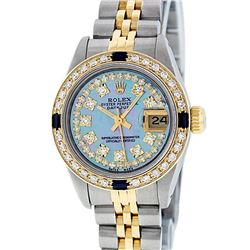Rolex Ladies 2 Tone 14K Blue MOP Diamond & Sapphire Datejust Wriswatch
