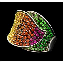 18KT White Gold 3.68 ctw Multi-colored Sapphire and Tsavorite Garnet Ring