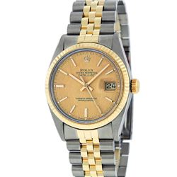 Rolex Mens 2 Tone 14K Champagne Linen Index 36MM Datejust Wristwatch With Rolex