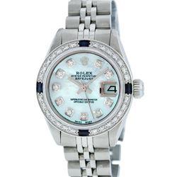 Rolex Ladies Stainless Steel Blue MOP Diamond & Sapphire 26MM Datejust Wristwatc