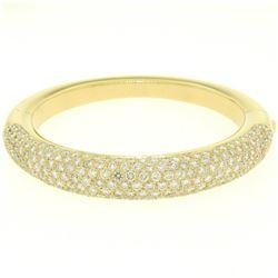 18k Yellow Gold 15.90 ctw Pave Set F VS Round Diamond Dome Bangle Bracelet