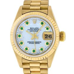 Rolex Ladies 18K Yellow Gold Mother Of Pearl Emerald Datejust President Wristwat