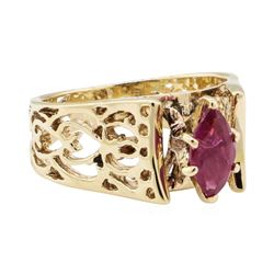 0.50 ctw Ruby Ring - 14KT Yellow Gold