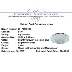 6.98 ct.Natural Oval Cut Aquamarine