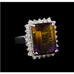 11.52 ctw Ametrine Quartz and Diamond Ring - 14KT White Gold