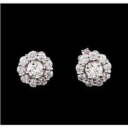 1.24 ctw Diamond Earrings - 14KT White Gold