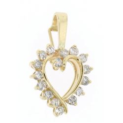 14K Solid Yellow Gold 1.0  ctW 16 Round Diamond Heart Enhancer Pendant Charm