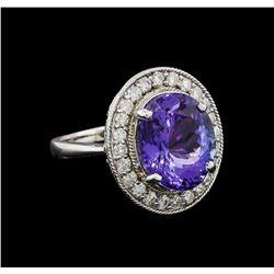 8.18 ctw Tanzanite and Diamond Ring - 14KT White Gold