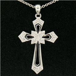 "14k White Gold 0.15 ctw Round Pave Diamond Open Work Cross Pendant w/ 18"" Chain"