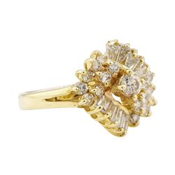 1.00 ctw Diamond Waterfall Cluster Ring - 14KT Yellow Gold