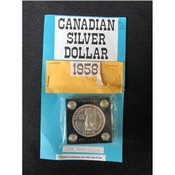 1958 CANADA FINE SILVER DOLLAR