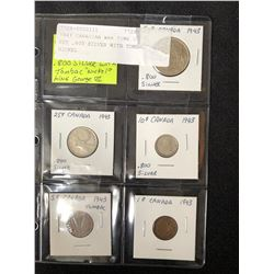 1943 CANADIAN WAR TIME COIN SET (.800 SILVER W/ TOMBAC SILVER)