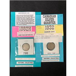 1882 20 CENT CANADIAN COIN & 1932 SILVER QUARTER