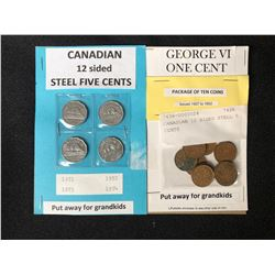 CANADIAN 12 SIDED STEEL 5 CENTS LOT & 10 GEORGE VI ONE CENT LOT