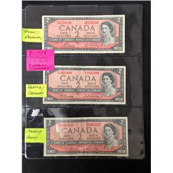 1954 CANADIAN 2 DOLLAR BILLS LOT (3 DIFFERENT SIGNATURES)