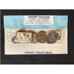 UNIQUE COLLECTIBLES VARIETY PACKAGE (CANADA, USA, FOREIGN COINS/ TOKENS/ MEDALS)