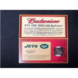 BUDWEISER SUPER BOWL COMMEMORATIVE COIN MEDALLION NEW YORK JETS NFL