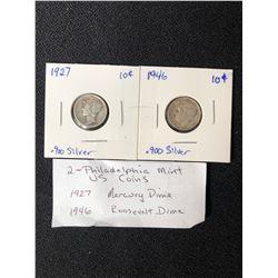 PHILADELPHIA USA MINT COINS LOT (1927 MERCURY DIME/ 1946 ROOSEVELT DIME)